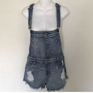 Tinseltown Denim Woman Overall Short Jeans Sz L